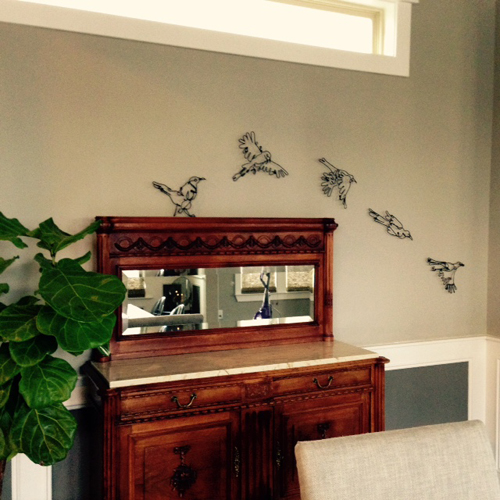 wire wall art of mockingbirds